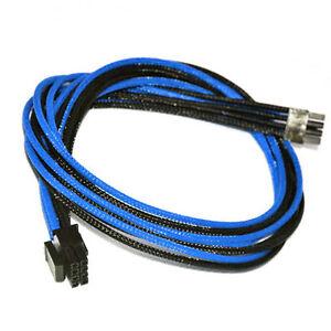 8pin pcie Dark Blue & Black Sleeved Cable EVGA Silverstone Coolermaster Seasonic