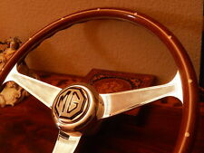 "MG TD Wood Steering Wheel NARDI 15"" Vintage Hub + Horn Push Button Cloisonne NOS"