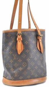 Authentic Louis Vuitton Monogram Bucket PM Shoulder Bag M42238 LV B8991