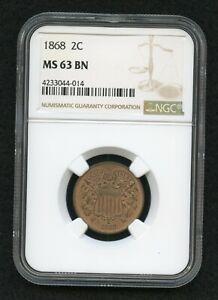 1868 2 Cent Piece MS63 BN NGC