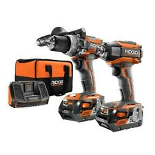 Cordless Hammer Drill Impact Combo Kit Ridgid 18v Lithium Batteries Charger Bag