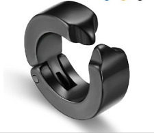 Men & Women Black Stainless Surgical 316L Steel 4mm Stud Hoop Earrings  - Clip