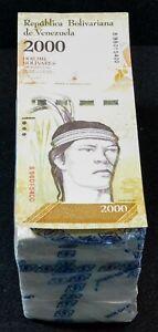 2017 Venezuela $2,000 Bolivares 1000 Pcs Brick Bundle UNC Rare Brick SKU037