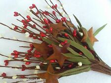 Leafy Pip Berry Pick Stem with Rusty Stars Red Cream Crafts Primitive