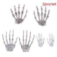 2Pcs Halloween Skull Skeleton Human Hand Bone Terror Adult Scary Prop NT