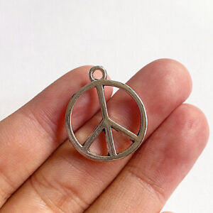 10pcs 26x21mm Peace Sign Charms antique silver tone Pendant Making