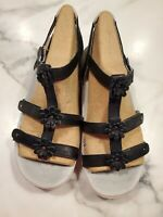 NIB Jambu Size 9 Women's Sandals Comfort Black Sunflower Strappy Shoes