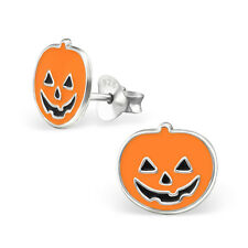 925 Sterling Calabaza Naranja Aretes Halloween Espeluznante Divertido Lindo Kawaii