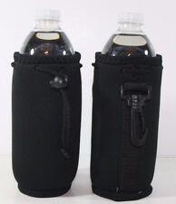 2 Black Water Bottle Drawstring Insulator Koozie Coolie Neoprene