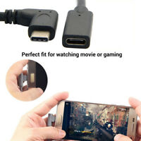 90 Degree Right Angle USB-C Type C USB3.1 Male To Female Extension Data Cable