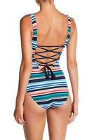 Tommy Bahama Fete Lace-Up Back One-Piece Swimsuit TSW32904P 12
