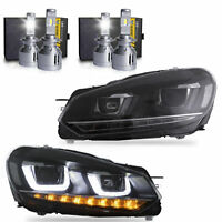 LED DRL Headlights+2 Pair VLAND H7 LED Bulbs for 10-13 Golf MK6 GTI 12-13 Golf R
