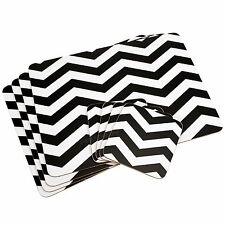 Set of 8 Placemats & Coasters Black White Chevron Dinner Table Place Setting Mat