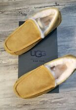 UGG Men's Ascot Moccasin Slippers Size 9 Chestnut Suede Wool Rubber SnugFit *NIB