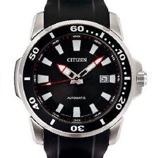 Citizen NJ0011-01E Black Dial Rubber Strap Men's 100m Automatic Analog Watch