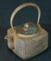 Japan iron kettle Tetsubin sand cast art 1880s Japanese hand craft