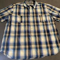 Carhartt Mens XXL Relaxed Fit Plaid Pearl Snap Button Front Shirt Short Sleeve