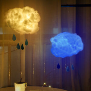DIY Handmade Cotton Cloud Shape LED Light Hanging Night Lamp Home Bedroom Decor