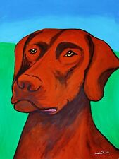 CHOCOLATE LABRADOR RETRIEVER ORIGINAL PAINTING-LARGE ABSTRACT ART PET-LAB DOG