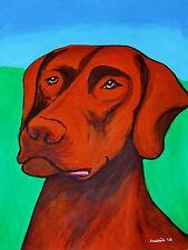 CHOCOLATE LABRADOR RETRIEVER ORIGINAL PAINTING-LARGE ABSTRACT ART PET-LAB DOG