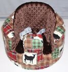 New Bumbo Floor Seat COVER •Bear Elk Deer Cabin Patchwork• Safety Strap Ready