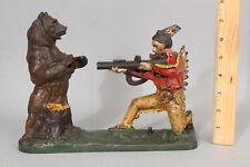 Antique J&E Stevens BEAR HUNT Western Indian Painted Cast Iron Mechanical Bank