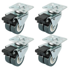 Dual Wheel Heavy Duty Swivel Plate Locking Casters 551 Lbs, 4 Pack-Silver Gray