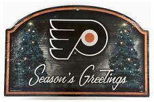 "Philadelphia Flyers NHL Christmas Seasons Greetings Home 17"" x 11"" Wooden Sign"