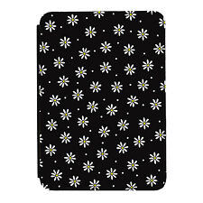 Daisies Black Floral Flowers Pattern iPad Mini 1 2 3 PU Leather Flip Case Cover