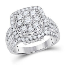 14kt White Gold Womens Round Diamond Right Hand Cluster Cushion Ring 1-1/2 Cttw