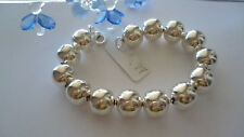 GENUINE SOLID  925 STERLING SILVER BEAD BALLS BRACELET MADE IN ITALY