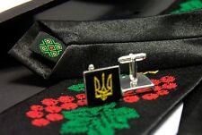 Ukrainian Neck Tie Hanky Cufflinks Embroidered Tryzub Vyshyvanka Viburnum