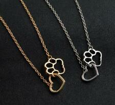 Lots Fashion Pet Lover Dog Cat Paw Print Pendant Love Heart Necklace Chain Gift