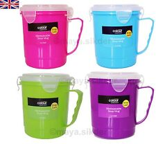 4 x Microwavable Clip Lock Soup Mug Purple,Green,Blue & Pink ideal for at Work