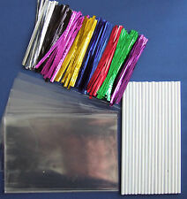 "CAKE POP KIT WITH 6"" PLASTIC STICKS + METALLIC TWIST TIES+15cm x 10cm CELLO BAGS"
