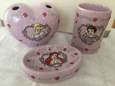 "Disney "" PRINCESSES"" Ceramic Bathroom Set - Three Matching Pieces LAVENDER"