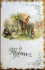 Menu: French 1890 Color Litho w/Picnic/Horse Scene, Blank Inside