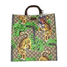 NWT Gucci GG Supreme Logo Bengal Tiger Print Canvas Leather Tote Bag AUTHENTIC
