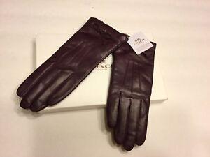 COACH  100% Aut F85229 Women Leather Merino wool lined Gloves Size 8  Purple NWT