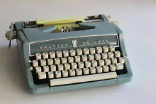 Vintage BROTHER DELUXE Powder Blue Portable Typewriter