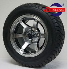 """Golf Cart 12"""" Machined Gt Wheels/Rims and 215/50-12 Comfort Ride Dot Tires(4)"""