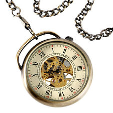 Classic Steampunk Mens Mechanical Arc handle Roman Numerals Pocket Watch Gift