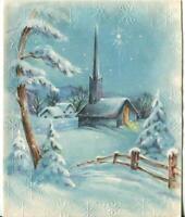 VINTAGE CHRISTMAS BLUE TREES CHURCH SNOW STAR OF BETHLEHEM WINTER GREETING CARD