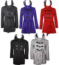 Kids Girls Fleece Hooded Belted Duffle Coat Long Jacket Age 7 8 9 10 12 13 Year