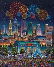 DOWDLE FOLK ART COLLECTORS JIGSAW PUZZLE KANSAS CITY 500 PCS 4TH OF JULY #00262