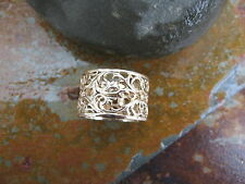 14KT Yellow Gold Filigree Floral Design Wide Cigar Band Ring.....NEW Size 9