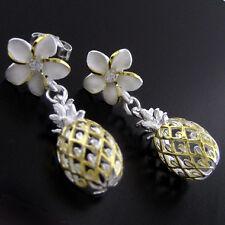 Sterling Silver Yellow Plumeria Pineapple Dangle Earrings Hawaiian Jewelry