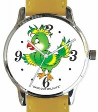"""Save Our Wildlife""-Parrot Image Watch has Yellow Strap With Donation to AWF"