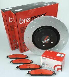 BREMBO pads & BREMAXX slotted disc brake rotors FRONT for NISSAN NAVARA D40 VSK