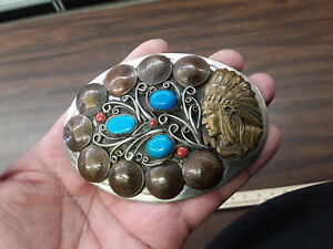 nickel silver indian chief buckle with turquoise/coral/ indian head pennys